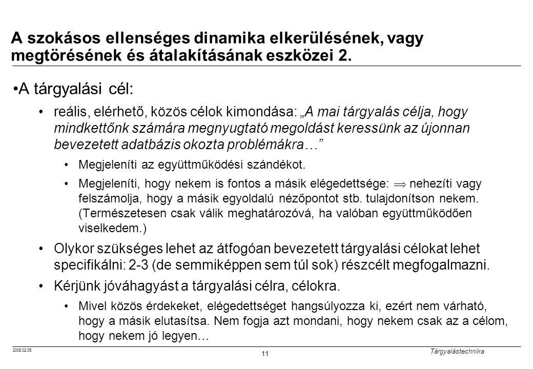2008.02.05. Tárgyalástechnika 11 A szokásos ellenséges dinamika elkerülésének, vagy megtörésének és átalakításának eszközei 2. A tárgyalási cél: reáli