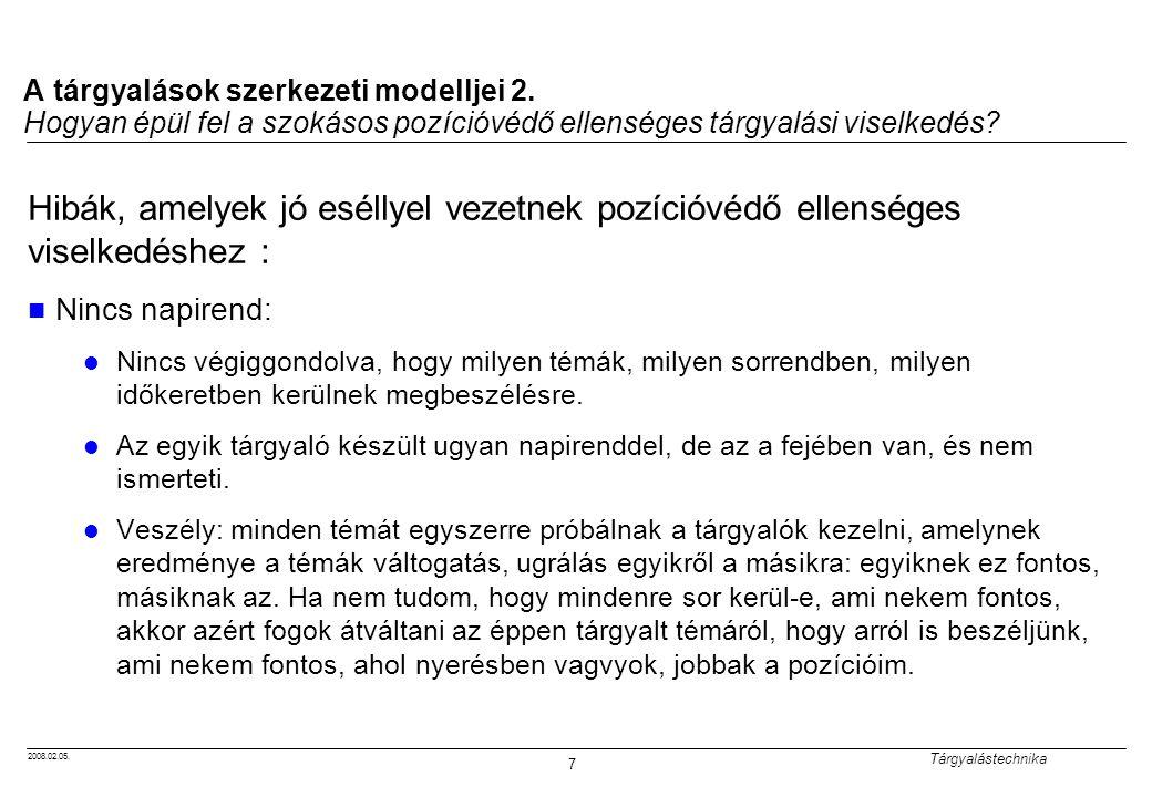 2008.02.05. Tárgyalástechnika 7 A tárgyalások szerkezeti modelljei 2. Hogyan épül fel a szokásos pozícióvédő ellenséges tárgyalási viselkedés? Hibák,
