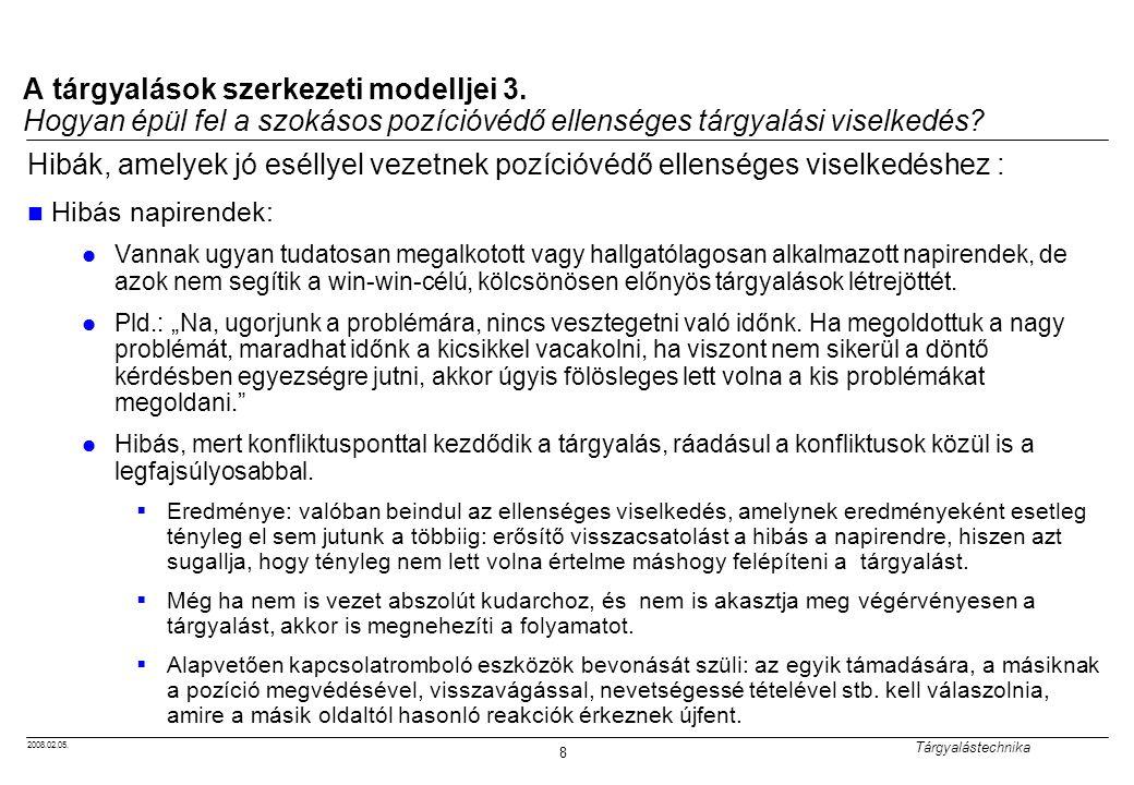 2008.02.05. Tárgyalástechnika 8 A tárgyalások szerkezeti modelljei 3. Hogyan épül fel a szokásos pozícióvédő ellenséges tárgyalási viselkedés? Hibák,