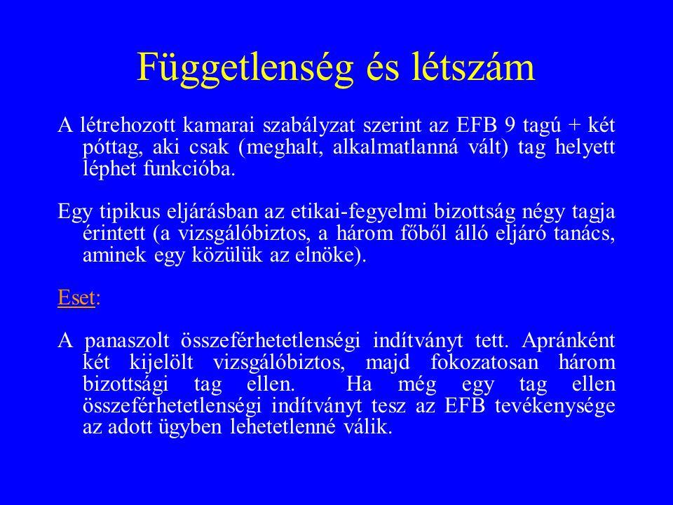 Függetlenség és létszám A létrehozott kamarai szabályzat szerint az EFB 9 tagú + két póttag, aki csak (meghalt, alkalmatlanná vált) tag helyett léphet