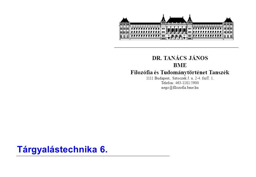 DR. TANÁCS JÁNOS BME Filozófia és Tudománytörténet Tanszék 1111 Budapest, Sztoczek J. u. 2-4. fszT. 1. Telefon: 463-1181/5900 nego@filozofia.bme.hu Tá