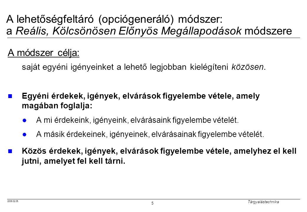 2008.02.05. Tárgyalástechnika 5 A lehetőségfeltáró (opciógeneráló) módszer: a Reális, Kölcsönösen Előnyös Megállapodások módszere A módszer célja: saj