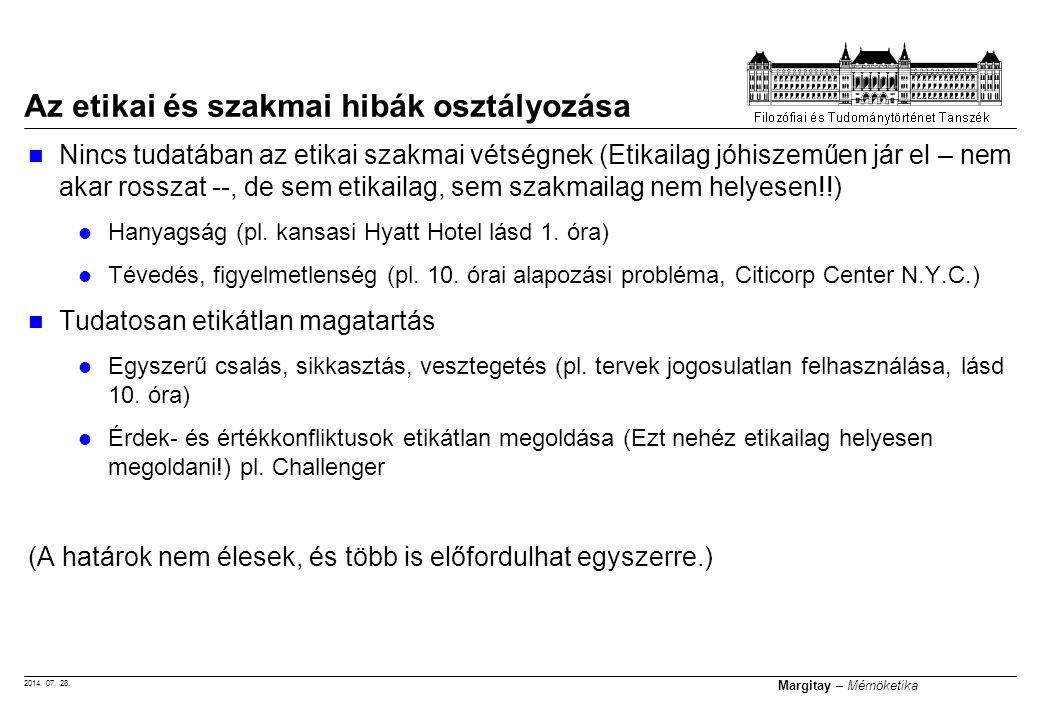 2014. 07. 28. Margitay – Mérnöketika Nincs tudatában az etikai szakmai vétségnek (Etikailag jóhiszeműen jár el – nem akar rosszat --, de sem etikailag