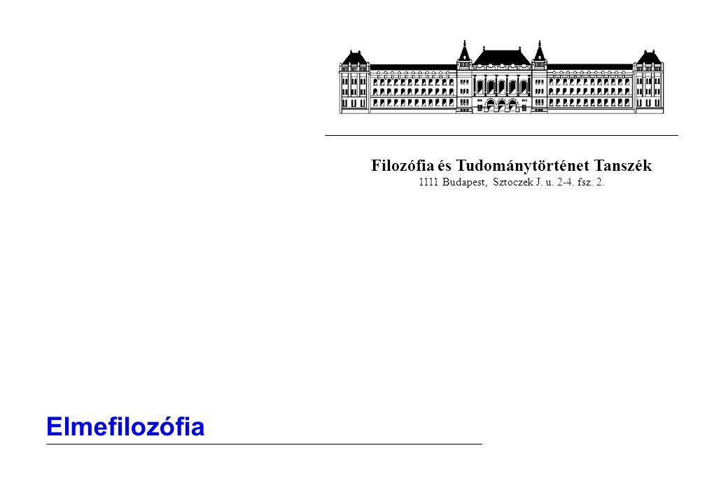 Filozófia és Tudománytörténet Tanszék 1111 Budapest, Sztoczek J. u. 2-4. fsz. 2. Elmefilozófia