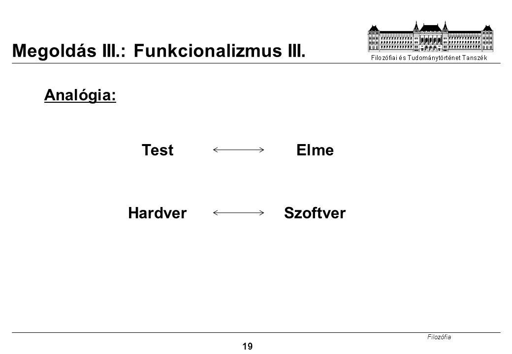 Filozófia 19 Megoldás III.: Funkcionalizmus III. Analógia: TestElme HardverSzoftver