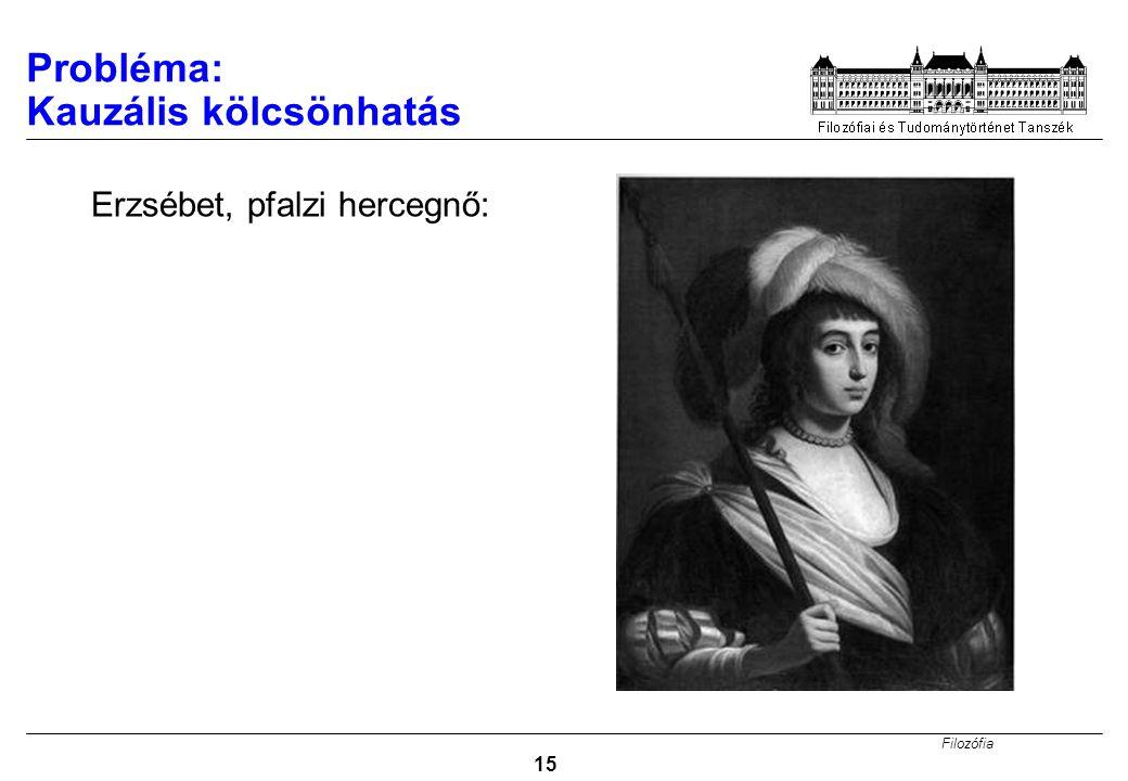 Filozófia 15 Erzsébet, pfalzi hercegnő: Probléma: Kauzális kölcsönhatás