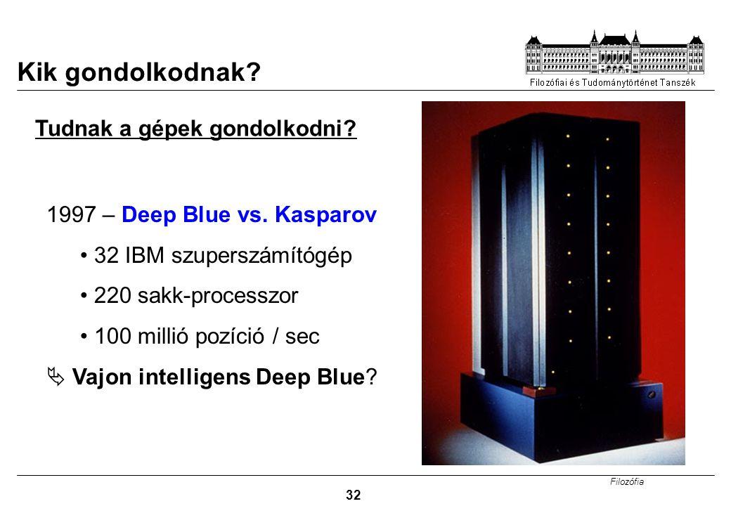 Filozófia 32 Kik gondolkodnak? 1997 – Deep Blue vs. Kasparov 32 IBM szuperszámítógép 220 sakk-processzor 100 millió pozíció / sec  Vajon intelligens