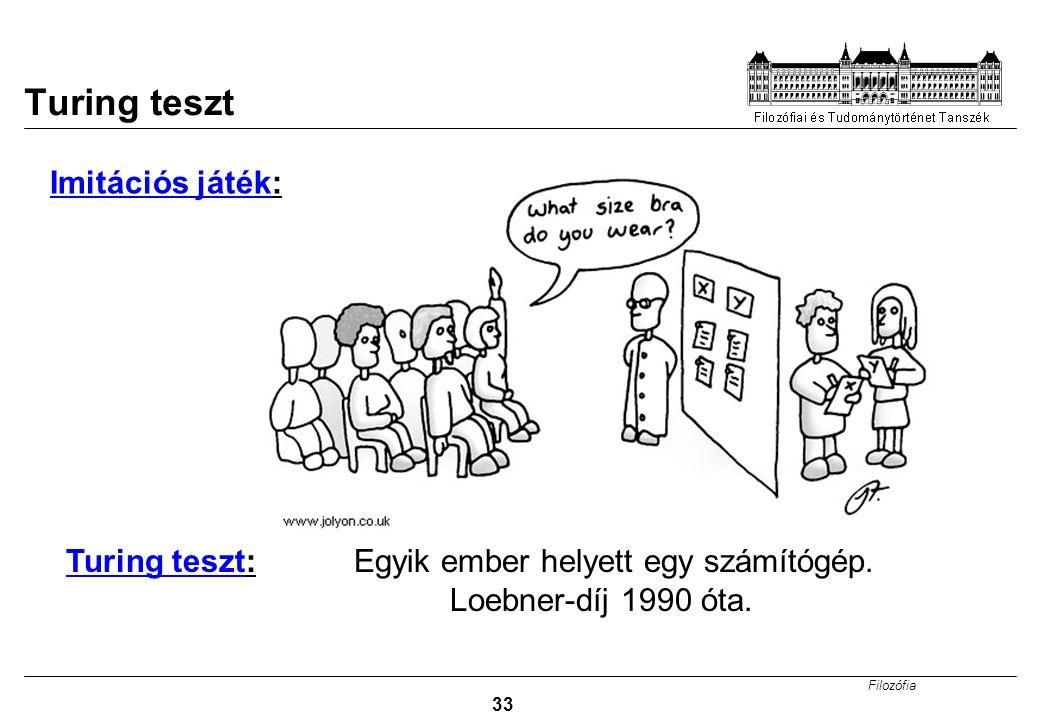 Filozófia 33 Turing teszt Imitációs játék: Turing teszt: Egyik ember helyett egy számítógép. Loebner-díj 1990 óta.