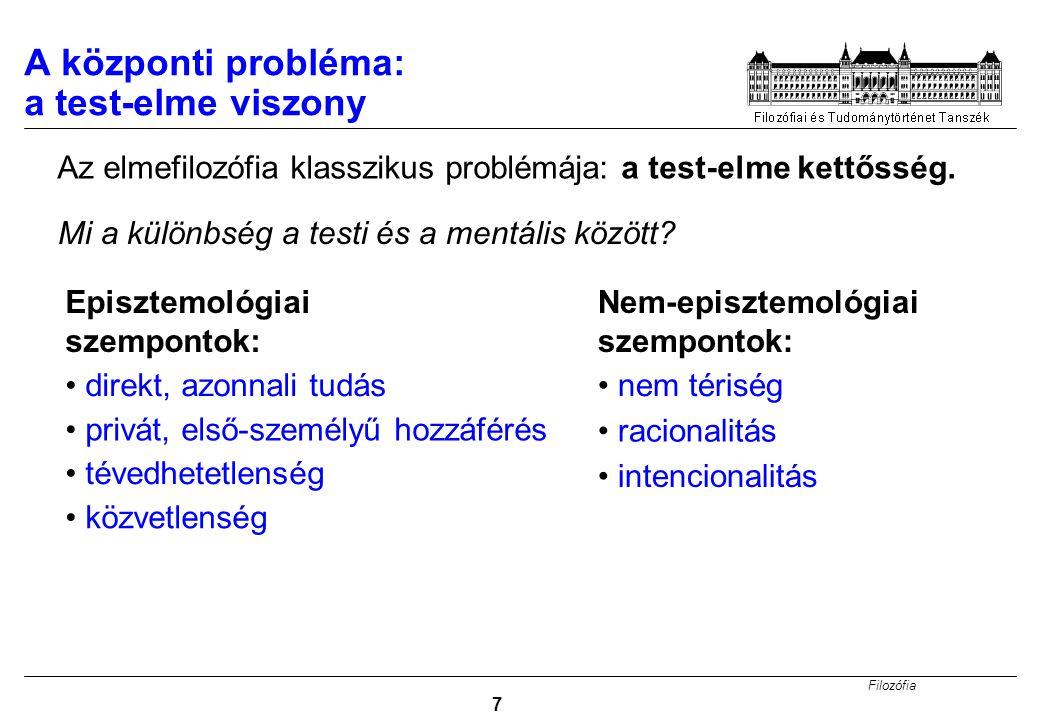 Filozófia 28 Megoldás 3: Funkcionalizmus Funkcionalizmus: (Példa magasabb rendű tulajdonságokra.) mentális tulajdonság = rendelkezni valamilyen tulajdonsággal, ami adott kauzális szerepet tölt be Nem-reduktív fizikalizmus: A mentális tulajdonságok 'magasabb rendű tulajdonságok', amelyek a fizikai tulajdonságok által meghatározottak, de nem azonosak azokkal.