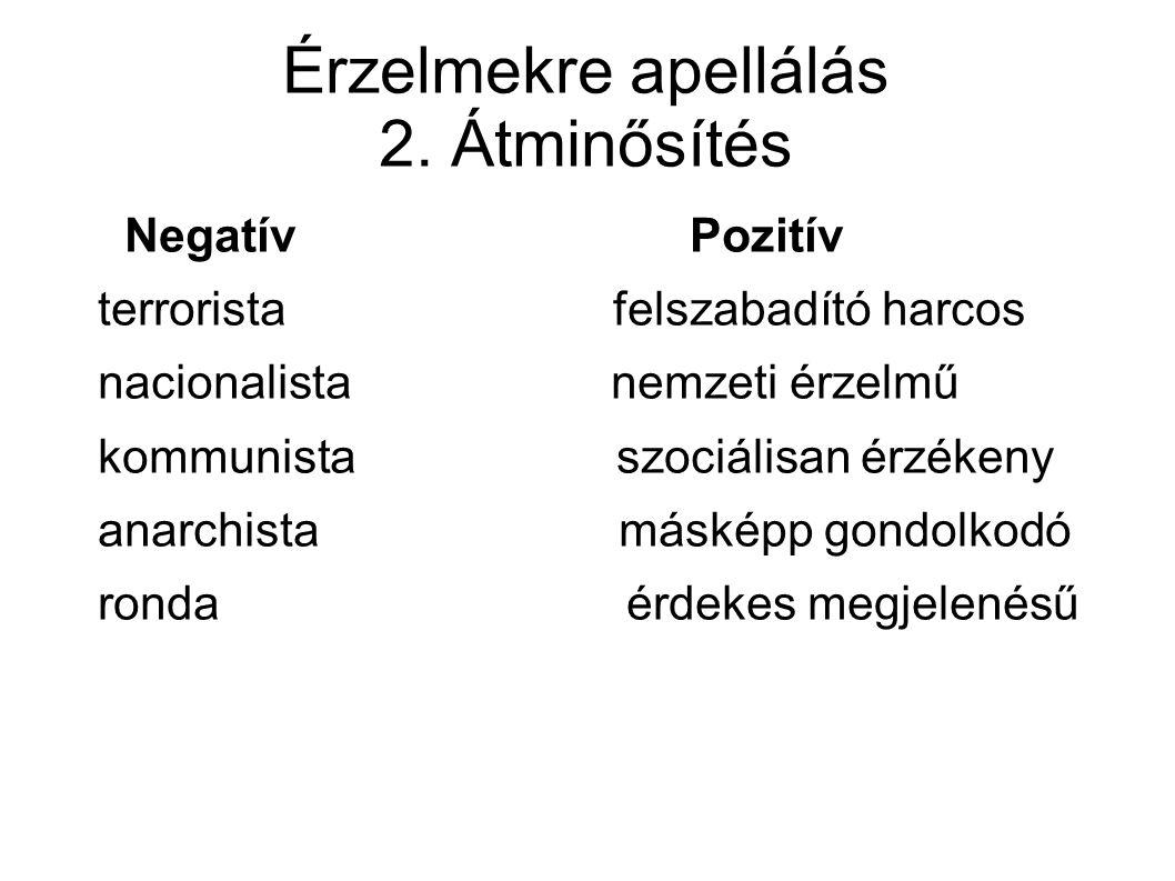 Érzelmekre apellálás 2. Átminősítés Negatív Pozitív terrorista felszabadító harcos nacionalista nemzeti érzelmű kommunista szociálisan érzékeny anarch