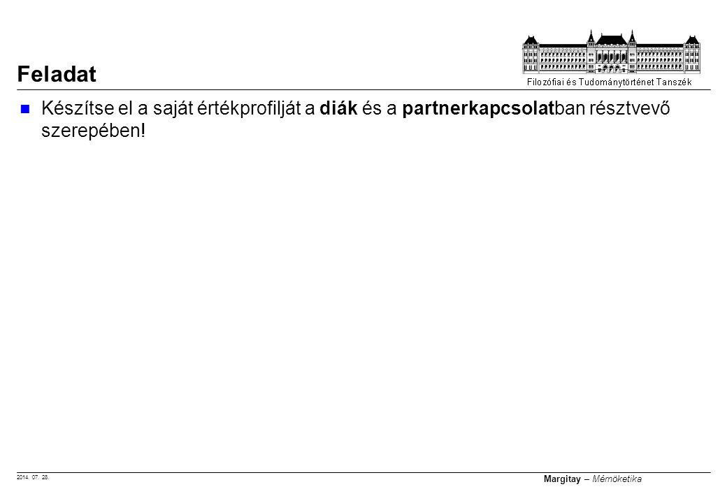 2014. 07. 28. Margitay – Mérnöketika Feladat Készítse el a saját értékprofilját a diák és a partnerkapcsolatban résztvevő szerepében!