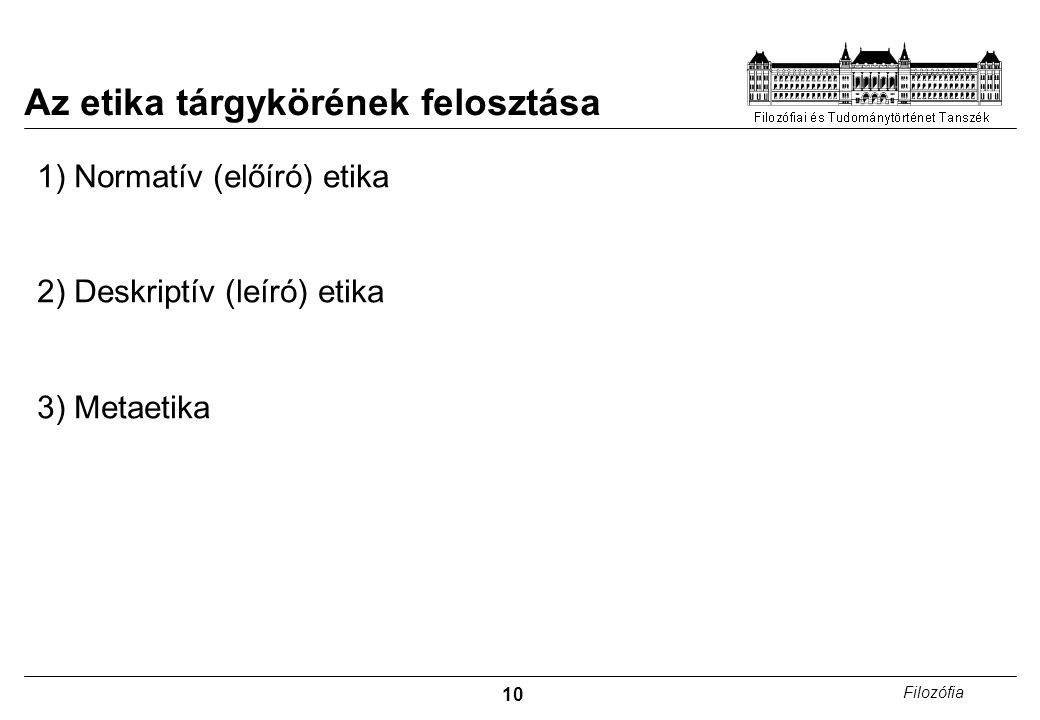 10 Filozófia Az etika tárgykörének felosztása 1) Normatív (előíró) etika 2) Deskriptív (leíró) etika 3) Metaetika