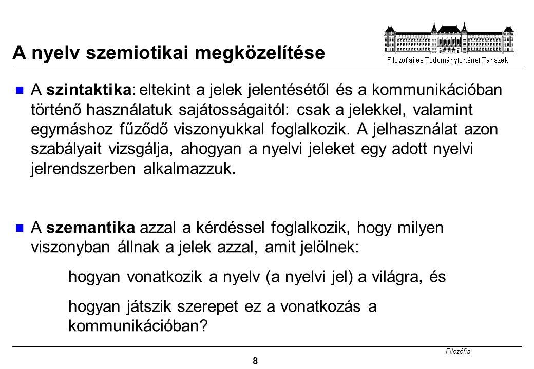Filozófia 9 A nyelv szemiotikai megközelítése A pragmatika: a nyelvi jelek és használóik közötti viszonyt vizsgálja: 1.