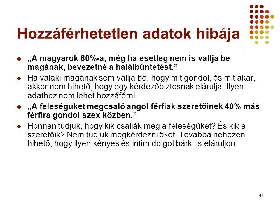 """41 Hozzáférhetetlen adatok hibája """"A magyarok 80%-a, még ha esetleg nem is vallja be magának, bevezetné a halálbüntetést."""" Ha valaki magának sem vallj"""