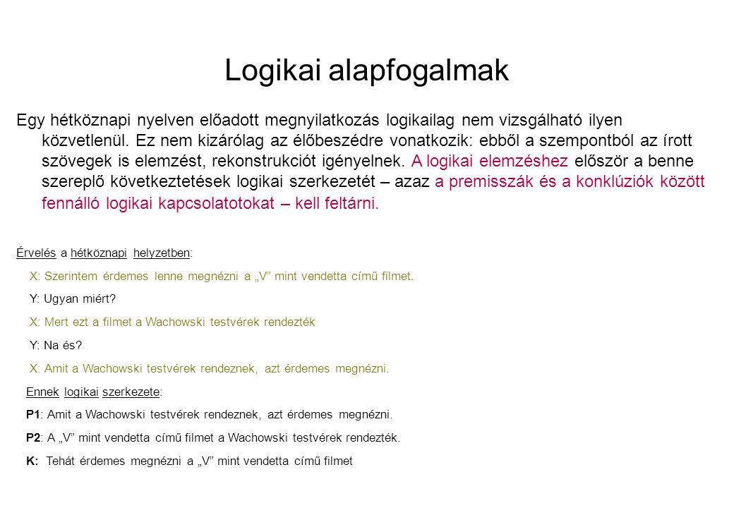 Logikai alapfogalmak Egy hétköznapi nyelven előadott megnyilatkozás logikailag nem vizsgálható ilyen közvetlenül.