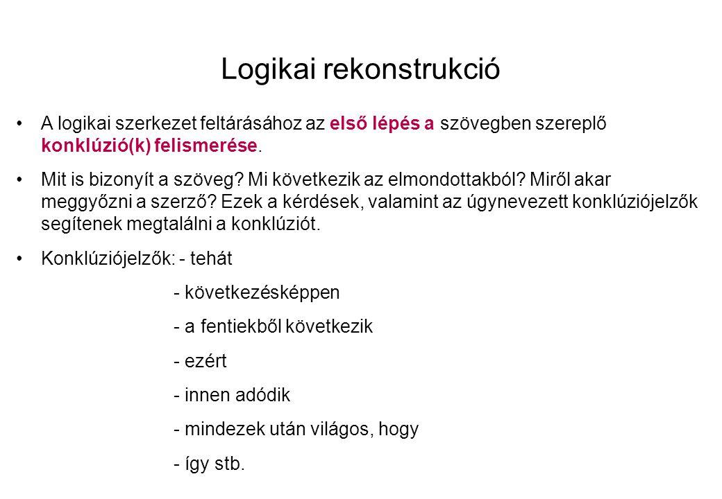 Logikai rekonstrukció A logikai szerkezet feltárásához az első lépés a szövegben szereplő konklúzió(k) felismerése.