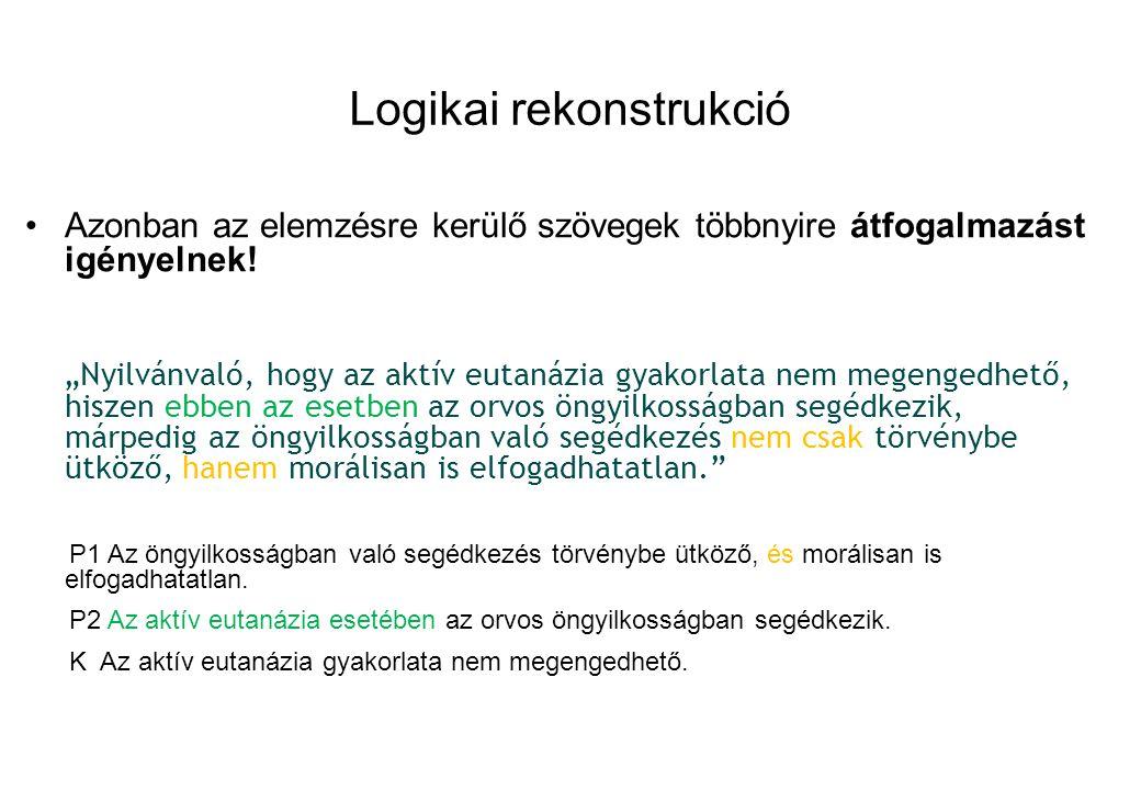 Logikai rekonstrukció Azonban az elemzésre kerülő szövegek többnyire átfogalmazást igényelnek.