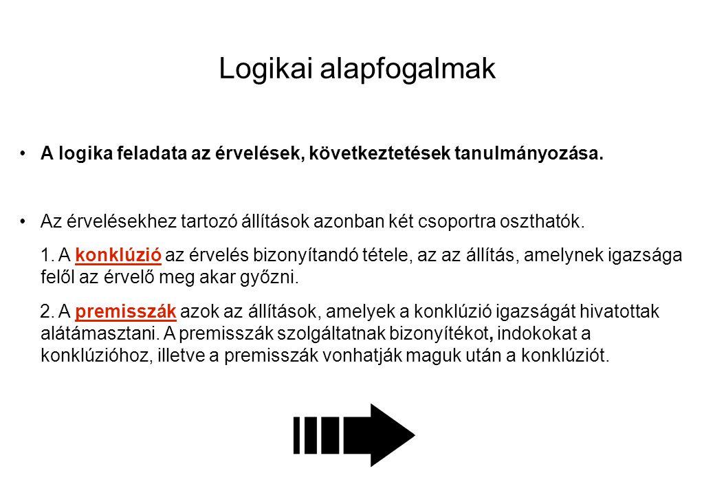 Logikai alapfogalmak A logika feladata az érvelések, következtetések tanulmányozása.