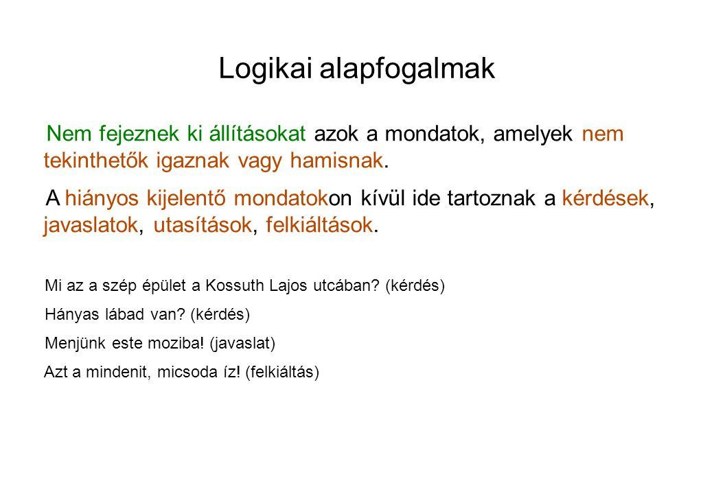 Logikai alapfogalmak További példák a következtetésre: P1 Néhány rossztettet jóhiszeműen követnek el.