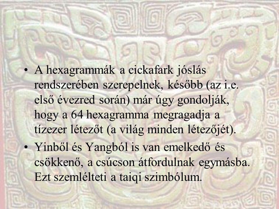 A hexagrammák a cickafark jóslás rendszerében szerepelnek, később (az i.e. első évezred során) már úgy gondolják, hogy a 64 hexagramma megragadja a tí
