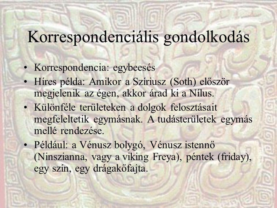 Korrespondenciális gondolkodás Korrespondencia: egybeesés Híres példa: Amikor a Szíriusz (Soth) először megjelenik az égen, akkor árad ki a Nílus. Kül