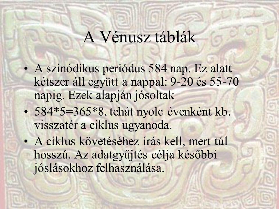 A Vénusz táblák A szinódikus periódus 584 nap. Ez alatt kétszer áll együtt a nappal: 9-20 és 55-70 napig. Ezek alapján jósoltak 584*5=365*8, tehát nyo