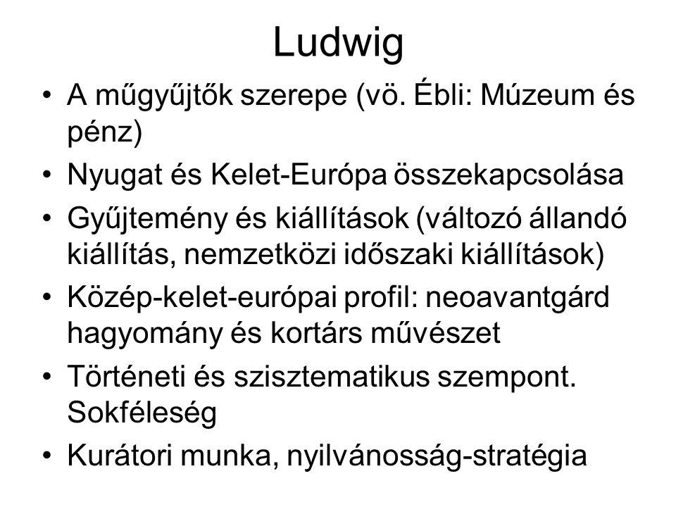 Ludwig A műgyűjtők szerepe (vö. Ébli: Múzeum és pénz) Nyugat és Kelet-Európa összekapcsolása Gyűjtemény és kiállítások (változó állandó kiállítás, nem