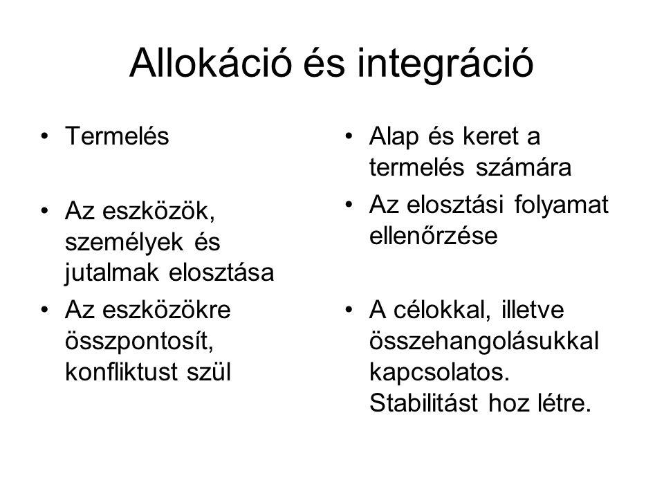 Allokáció Eszközök: a pénz és a hatalom általánosított instrumentális státusza (pl.