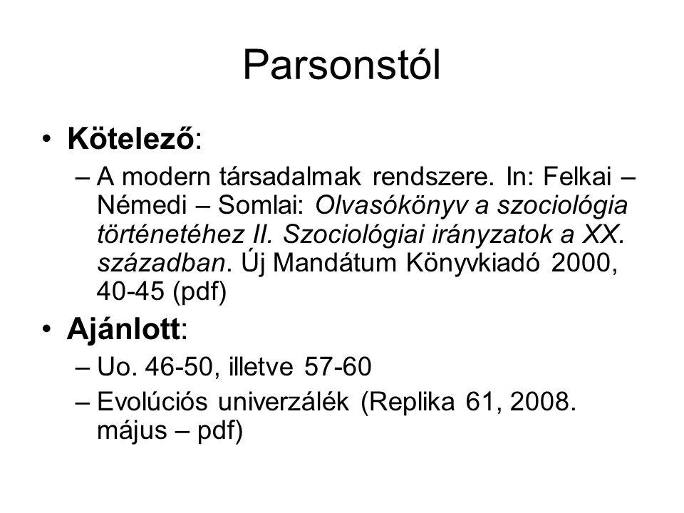 Parsonsról Morel/Bauer/Meleghy/Niedenzu/Preglau/ Staubmann: Szociológiaelmélet.