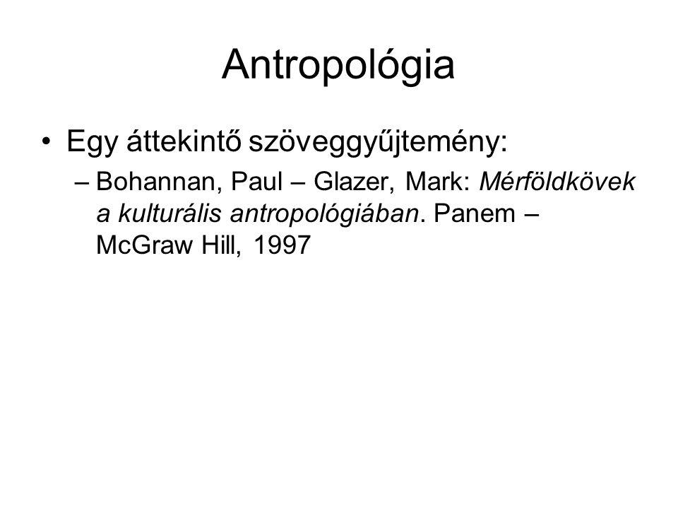 Antropológia Egy áttekintő szöveggyűjtemény: –Bohannan, Paul – Glazer, Mark: Mérföldkövek a kulturális antropológiában. Panem – McGraw Hill, 1997