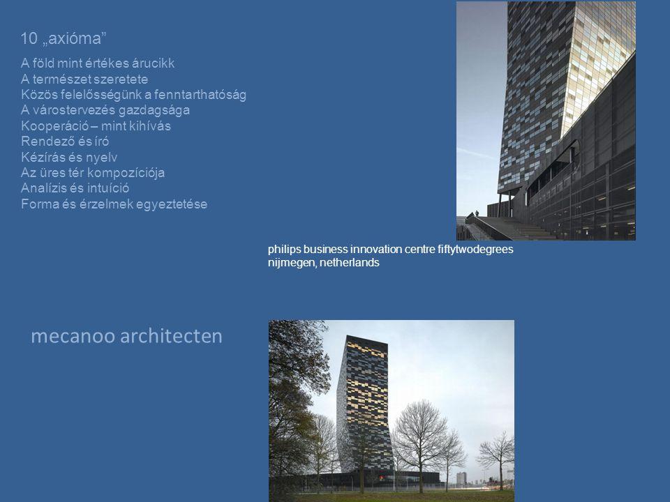 """mecanoo architecten philips business innovation centre fiftytwodegrees nijmegen, netherlands 10 """"axióma A föld mint értékes árucikk A természet szeretete Közös felelősségünk a fenntarthatóság A várostervezés gazdagsága Kooperáció – mint kihívás Rendező és író Kézírás és nyelv Az üres tér kompozíciója Analízis és intuíció Forma és érzelmek egyeztetése"""