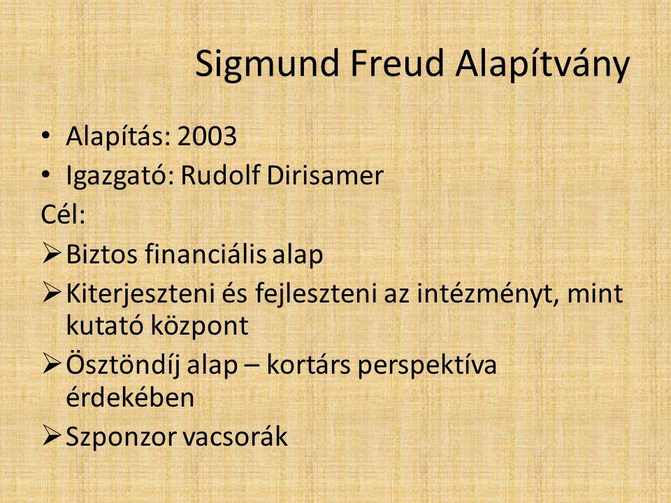 Sigmund Freud Alapítvány Alapítás: 2003 Igazgató: Rudolf Dirisamer Cél:  Biztos financiális alap  Kiterjeszteni és fejleszteni az intézményt, mint k