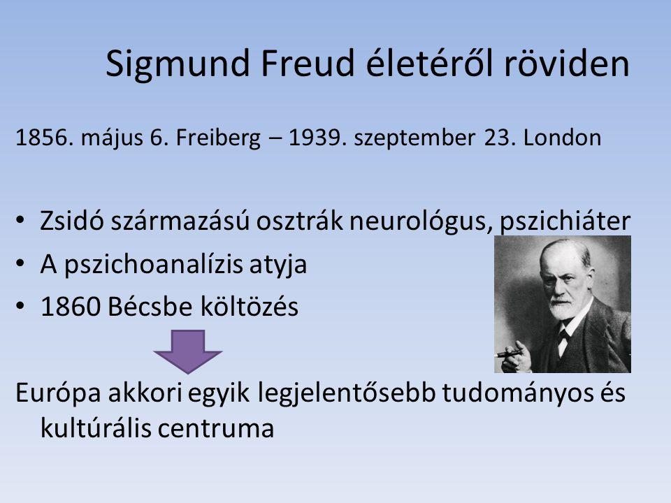 Sigmund Freud életéről röviden 1856. május 6. Freiberg – 1939. szeptember 23. London Zsidó származású osztrák neurológus, pszichiáter A pszichoanalízi