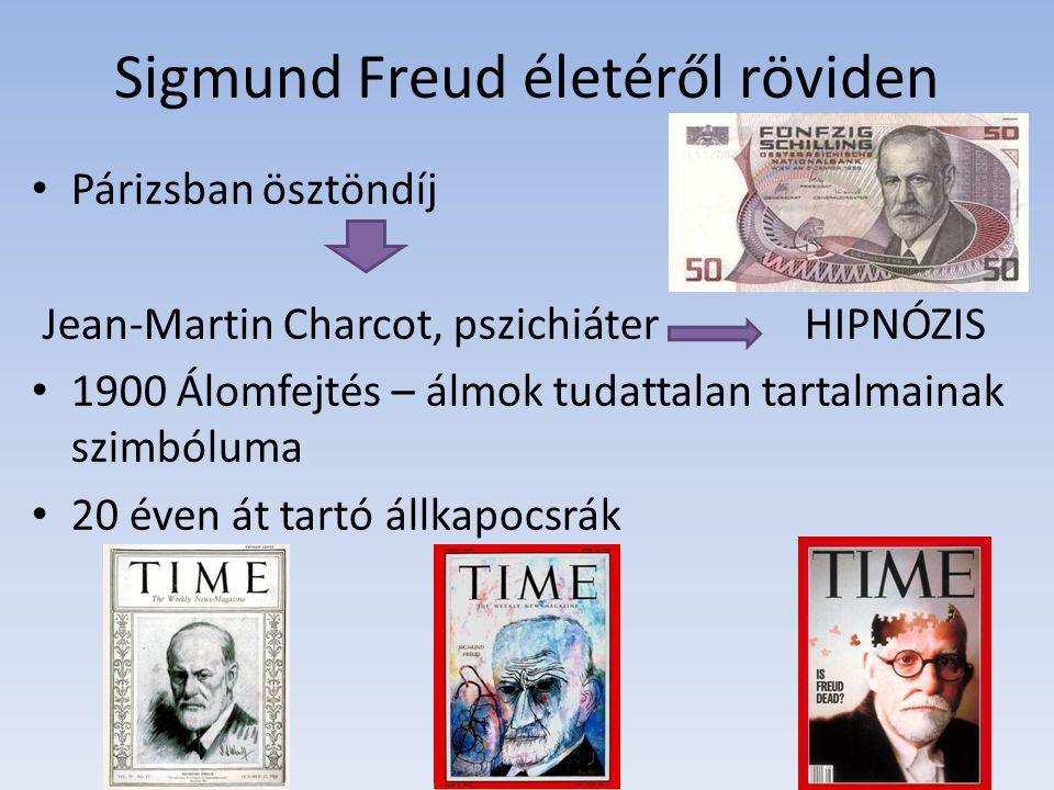 Sigmund Freud életéről röviden Párizsban ösztöndíj Jean-Martin Charcot, pszichiáter HIPNÓZIS 1900 Álomfejtés – álmok tudattalan tartalmainak szimbólum