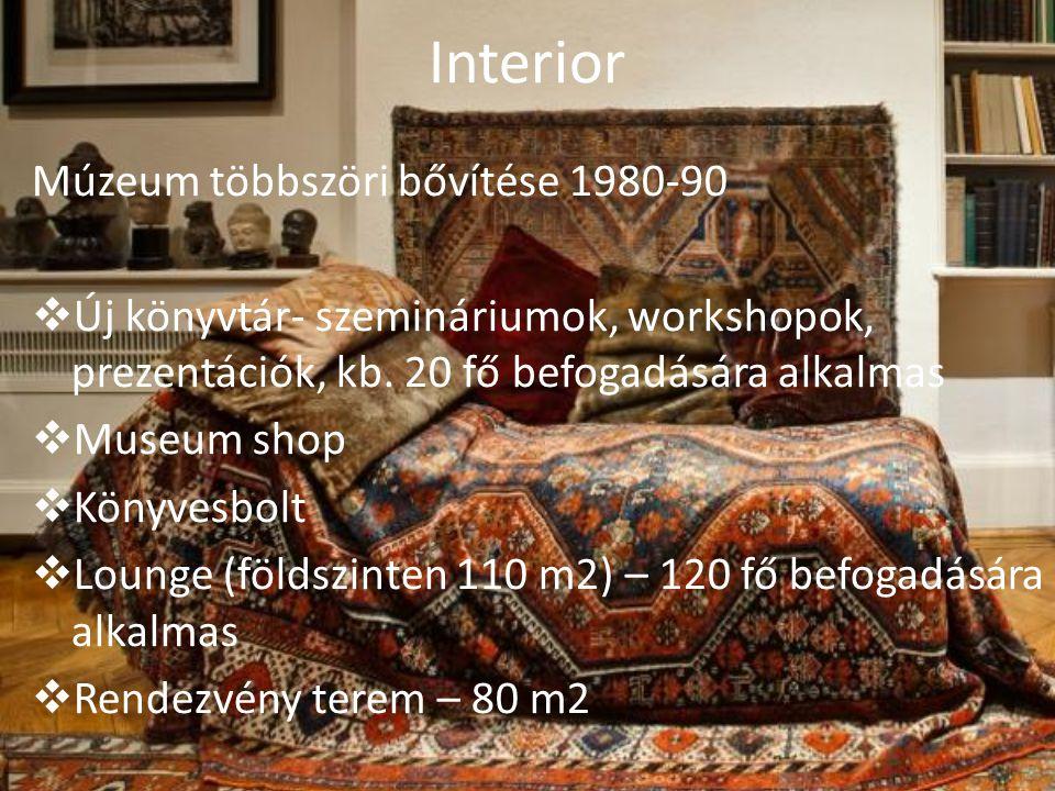 Interior Múzeum többszöri bővítése 1980-90  Új könyvtár- szemináriumok, workshopok, prezentációk, kb. 20 fő befogadására alkalmas  Museum shop  Kön