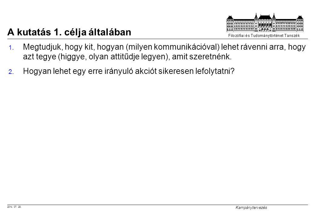 2014. 07. 28. Kampánytervezés A kutatás 1. célja általában 1.