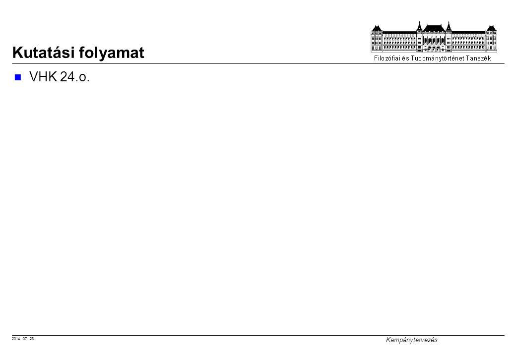 2014. 07. 28. Kampánytervezés Kutatási folyamat VHK 24.o.