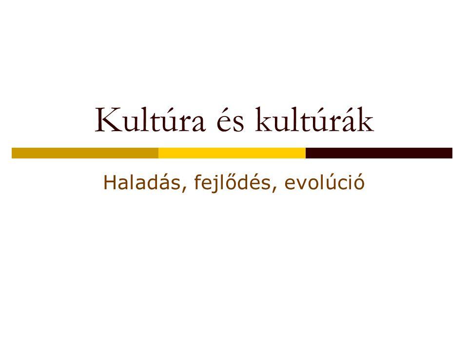 Kultúra és kultúrák Haladás, fejlődés, evolúció