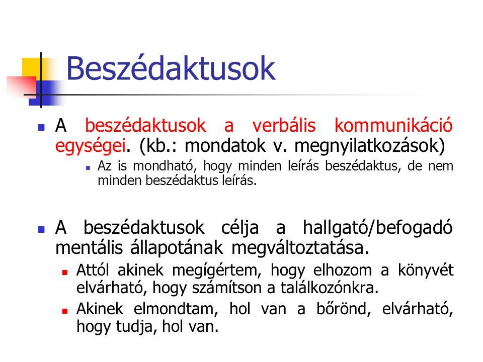 Beszédaktusok A beszédaktusok a verbális kommunikáció egységei. (kb.: mondatok v. megnyilatkozások) Az is mondható, hogy minden leírás beszédaktus, de
