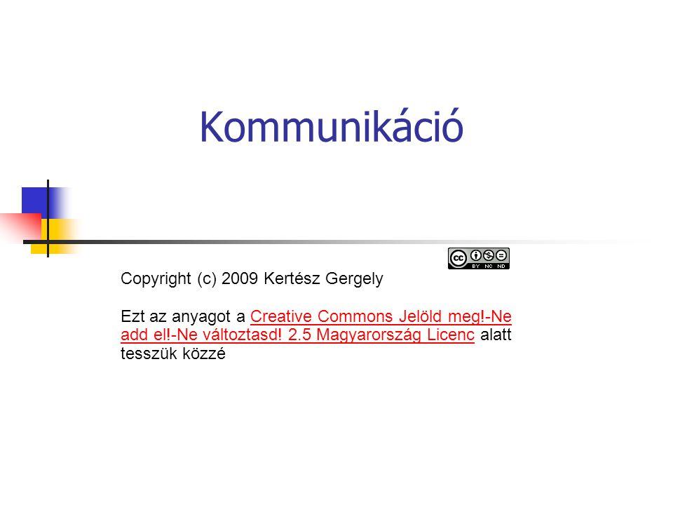 Kommunikáció Copyright (c) 2009 Kertész Gergely Ezt az anyagot a Creative Commons Jelöld meg!-Ne add el!-Ne változtasd! 2.5 Magyarország Licenc alatt