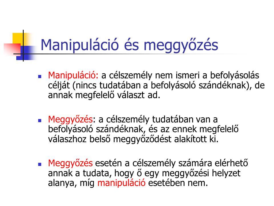 Más közismert fogalmak / kevert típusok Rábeszélés: manipulatív elemekkel kevert verbális meggyőzés Kényszerítés: a célszemély ismeri a befolyásolás célját (tudatában van a befolyásoló szándéknak), nem ért egyet azzal, de (a büntetés elkerülése/jutalom elnyerése) végett mégis átmenetileg annak megfelelő választ ad.