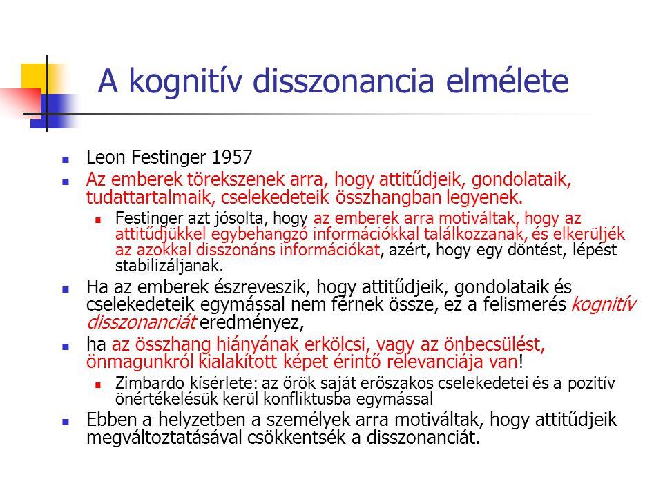 A kognitív disszonancia elmélete Leon Festinger 1957 Az emberek törekszenek arra, hogy attitűdjeik, gondolataik, tudattartalmaik, cselekedeteik összhangban legyenek.