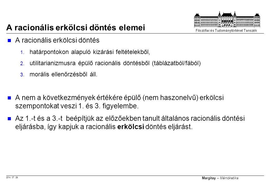 2014.07. 29. Margitay – Mérnöketika A racionális erkölcsi döntés 1.