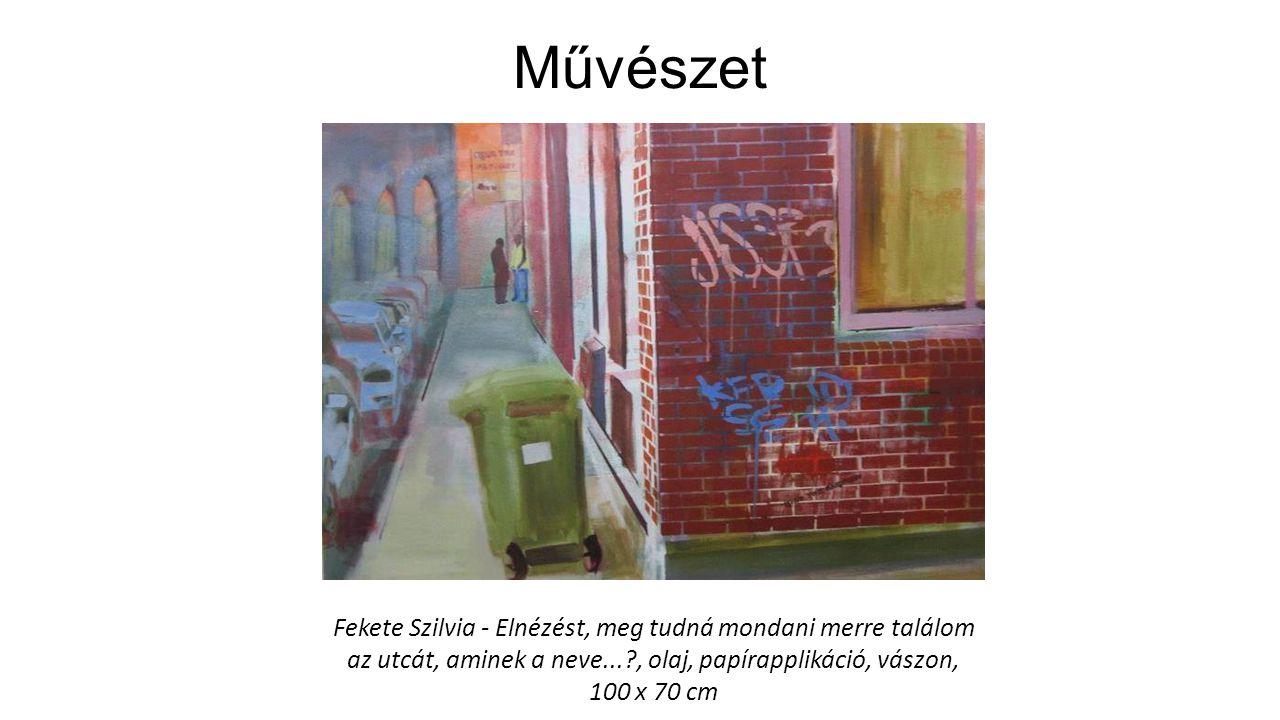 Művészet Fekete Szilvia - Elnézést, meg tudná mondani merre találom az utcát, aminek a neve...?, olaj, papírapplikáció, vászon, 100 x 70 cm