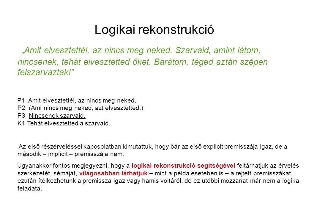 """Logikai rekonstrukció """"Amit elvesztettél, az nincs meg neked."""