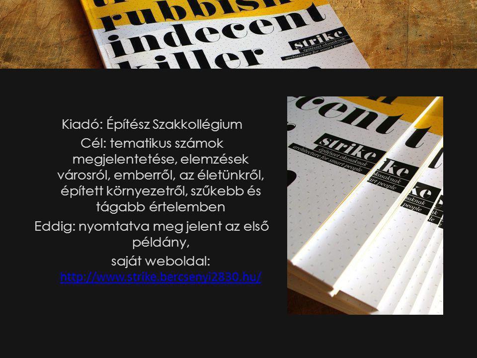Kiadó: Építész Szakkollégium Cél: tematikus számok megjelentetése, elemzések városról, emberről, az életünkről, épített környezetről, szűkebb és tágabb értelemben Eddig: nyomtatva meg jelent az első példány, saját weboldal: http://www.strike.bercsenyi2830.hu/ http://www.strike.bercsenyi2830.hu/