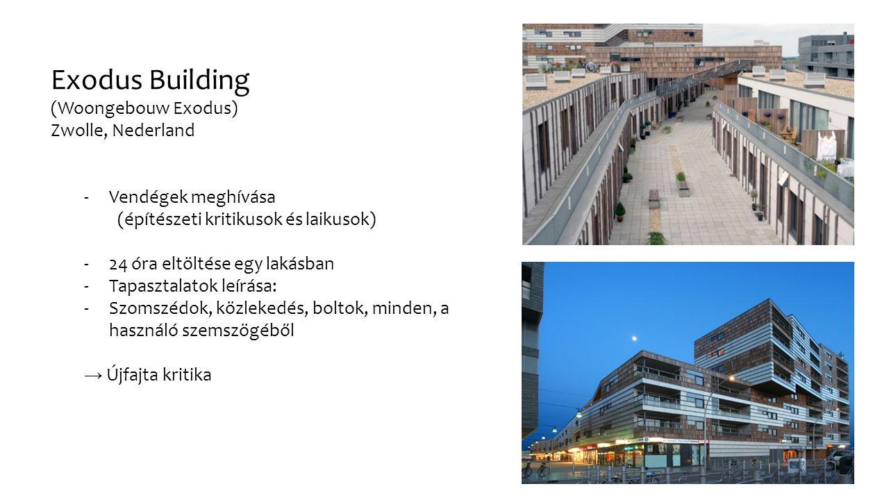 Exodus Building (Woongebouw Exodus) Zwolle, Nederland -Vendégek meghívása (építészeti kritikusok és laikusok) -24 óra eltöltése egy lakásban -Tapasztalatok leírása: -Szomszédok, közlekedés, boltok, minden, a használó szemszögéből → Újfajta kritika