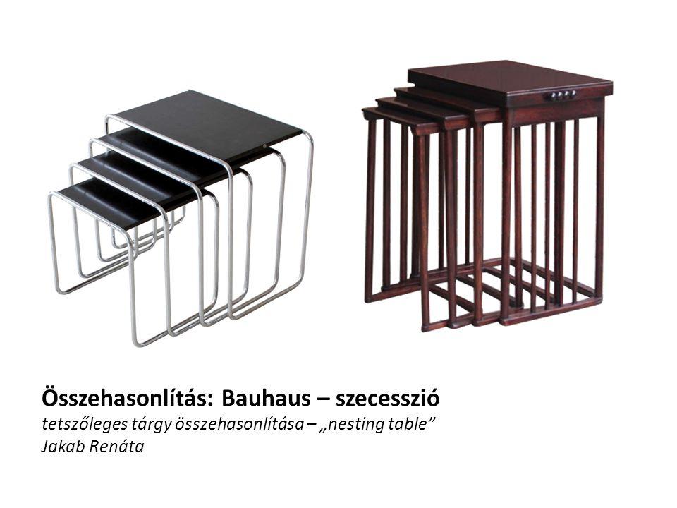 """Összehasonlítás: Bauhaus – szecesszió tetszőleges tárgy összehasonlítása – """"nesting table Jakab Renáta"""