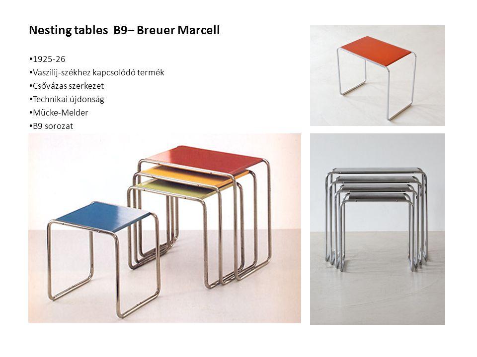 Nesting tables B9– Breuer Marcell 1925-26 Vaszilij-székhez kapcsolódó termék Csővázas szerkezet Technikai újdonság Mücke-Melder B9 sorozat