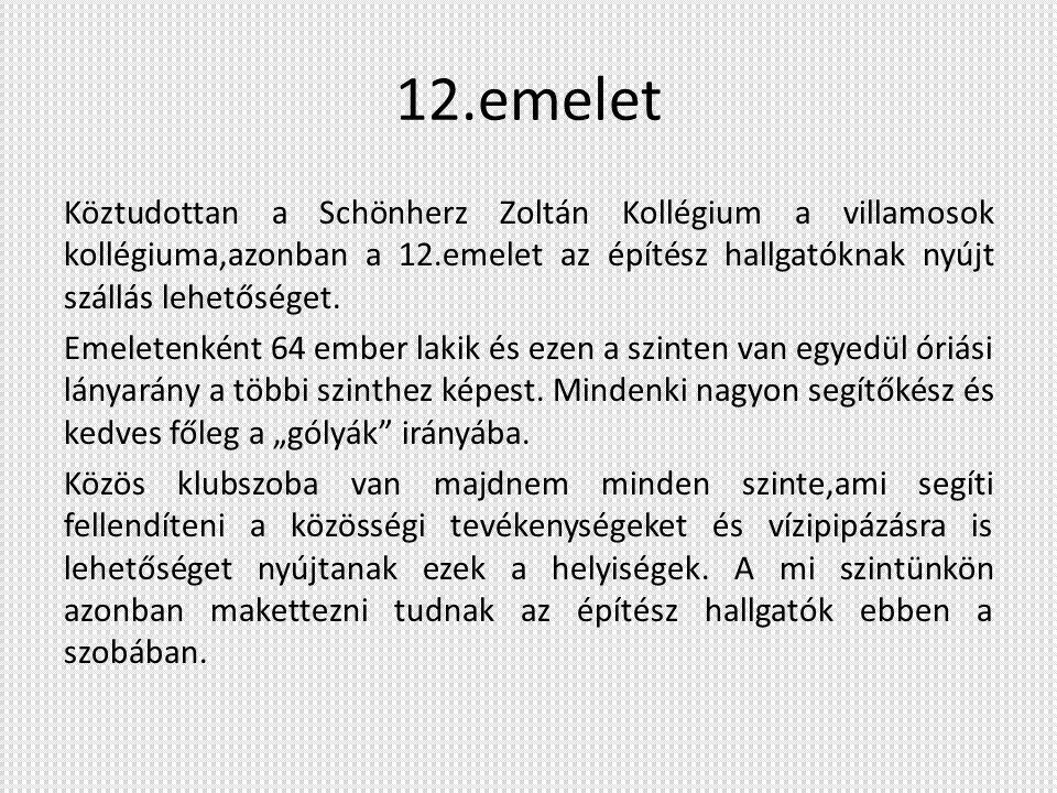 12.emelet Köztudottan a Schönherz Zoltán Kollégium a villamosok kollégiuma,azonban a 12.emelet az építész hallgatóknak nyújt szállás lehetőséget. Emel